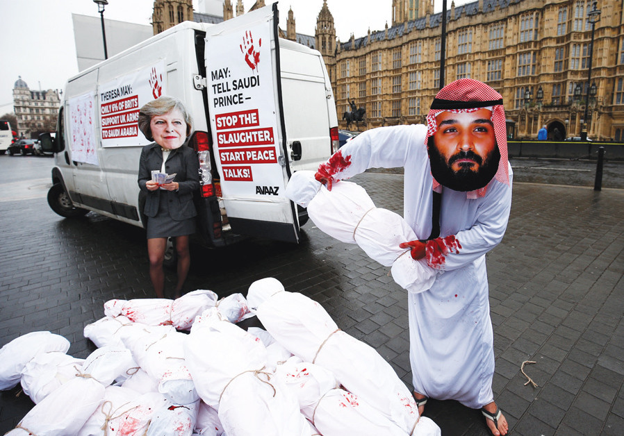ACTIVISTS STAGE a protest timed to coincide with the visit by Saudi Crown Prince Mohammad bin Salman