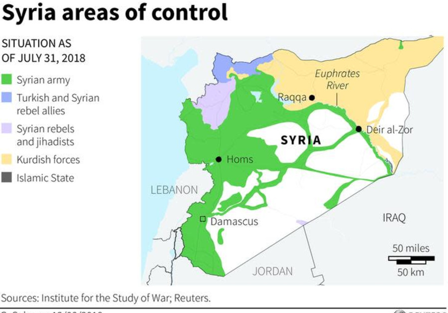 Syria areas of control - map