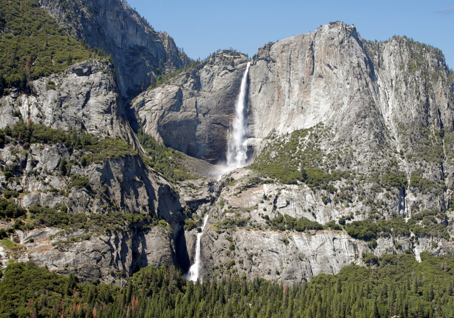 Yosemite Falls is seen from a helicopter, June 2016
