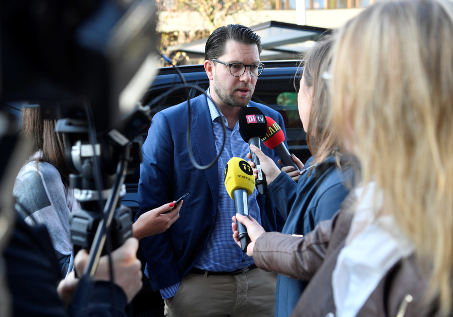 Sweden Democrat leader Jimmie Akesson talks to the media the morning after the general election