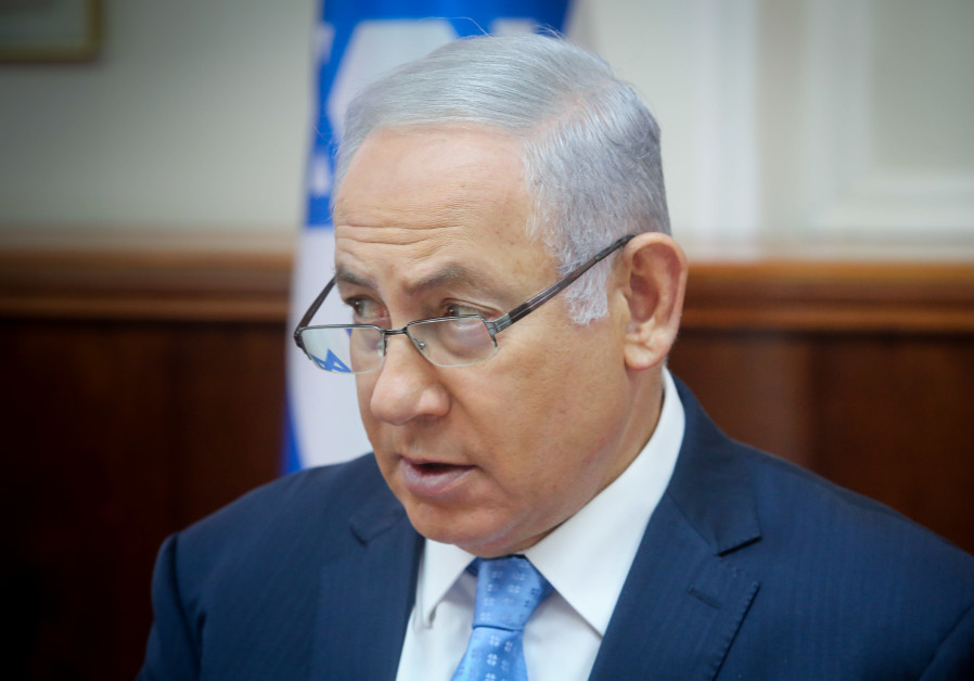 Benjamin Netanyahu at a Cabinet meeting