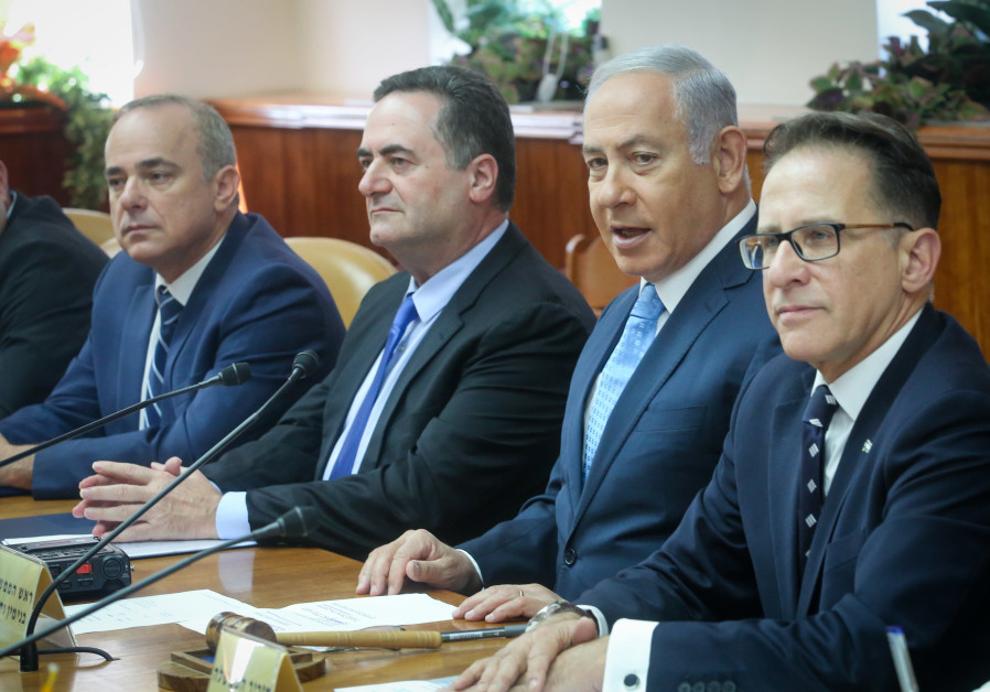 Energy Minsiter Yuval Steinitz, Transportation Minister Israel Katz and Prime Minister Benjamin Neta