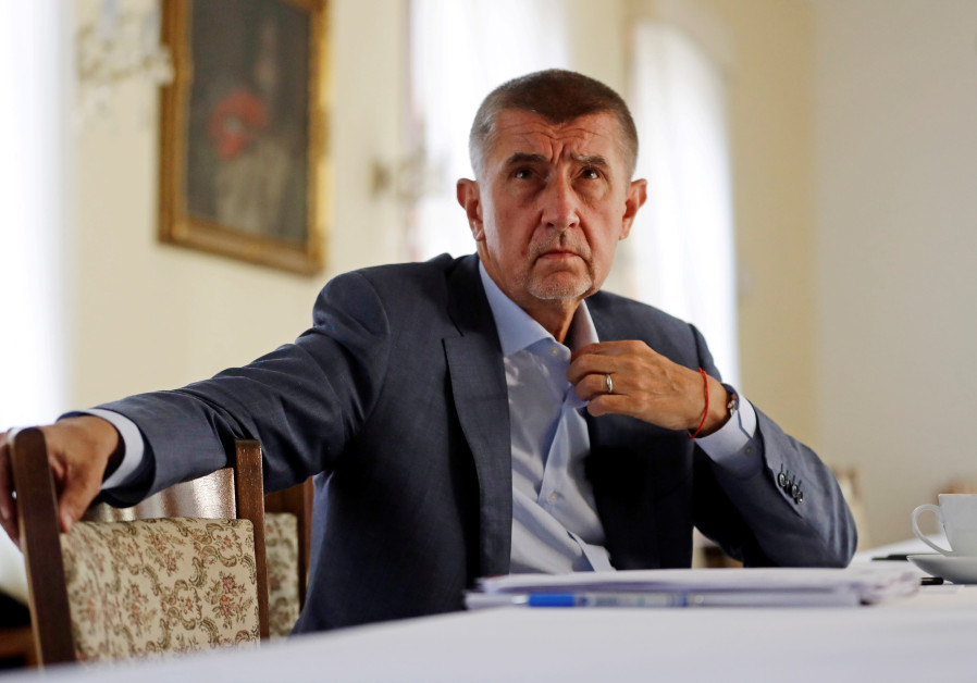 Czech Prime Minister Andrej Babis attends an interview with Reuters at the Hrzan's Palace in Prague