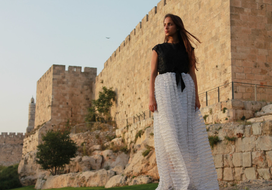 JERUSALEM'S OLD City walls play host to a Brager Couture Black & White gown