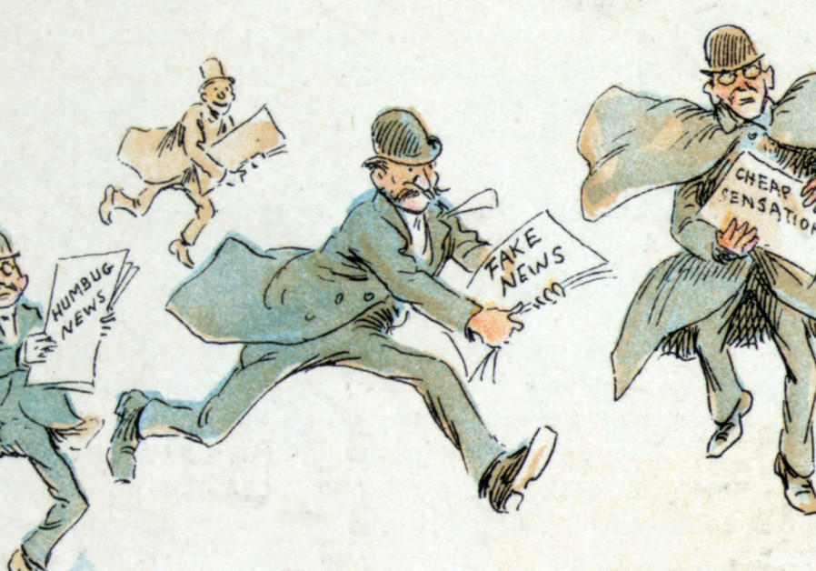 Reporters with various forms of 'fake news,' 1894 illustration by Frederick Burr Opper