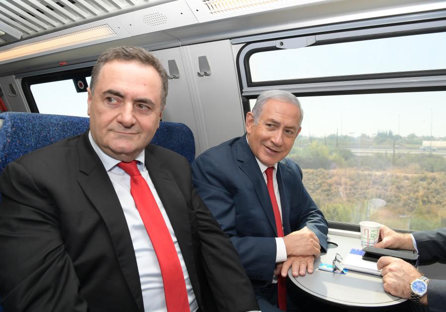 Benjamin Netanyahu and Israel Katz on inaugural ride of Jerusalem-Tel Aviv high speed rail