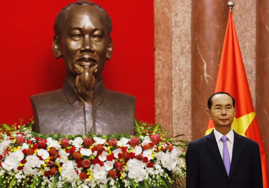 Vietnam President Tran Dai Quang before meeting at Presidential Palace, Hanoi, 2018
