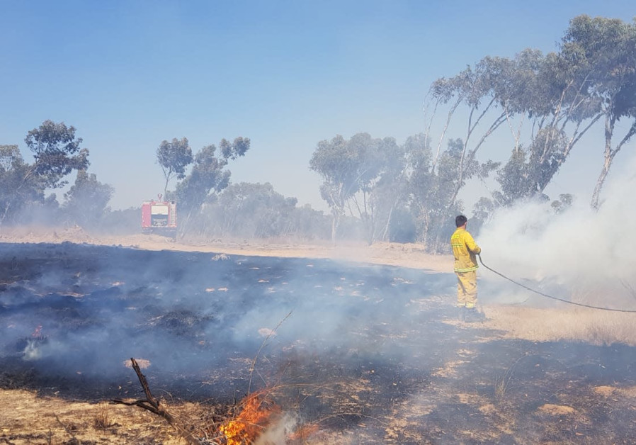 The results of a fire started by an incendiary balloon over the Sukkot holiday, September 2018