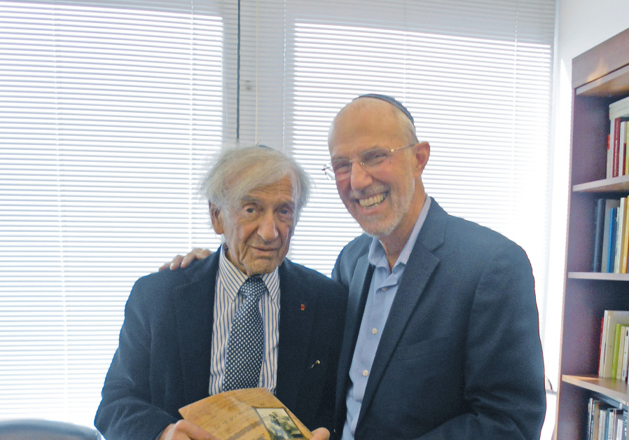 Jonathan Porath (R) and Elie Wiesel (L)