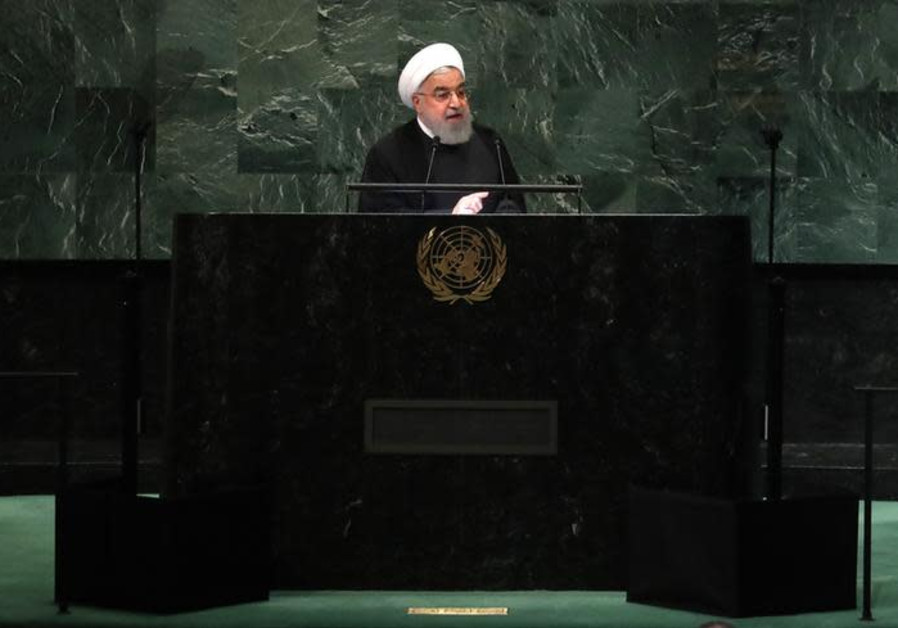 Iran's President Hassan Rouhani addresses the 73rd session of the United Nations General Assembly