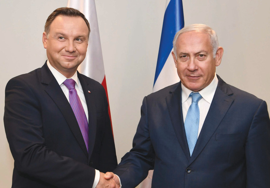 Polish President Andrzej Duda and Prime Minister Benjamin Netanyahu meet in New York.