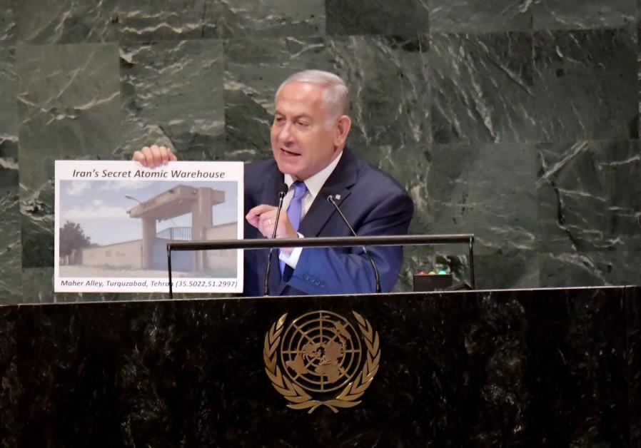 El primer ministro Benjamin Netanyahu pronunció un discurso en la Asamblea General de las Naciones Unidas en Nueva York el 27 de septiembre.