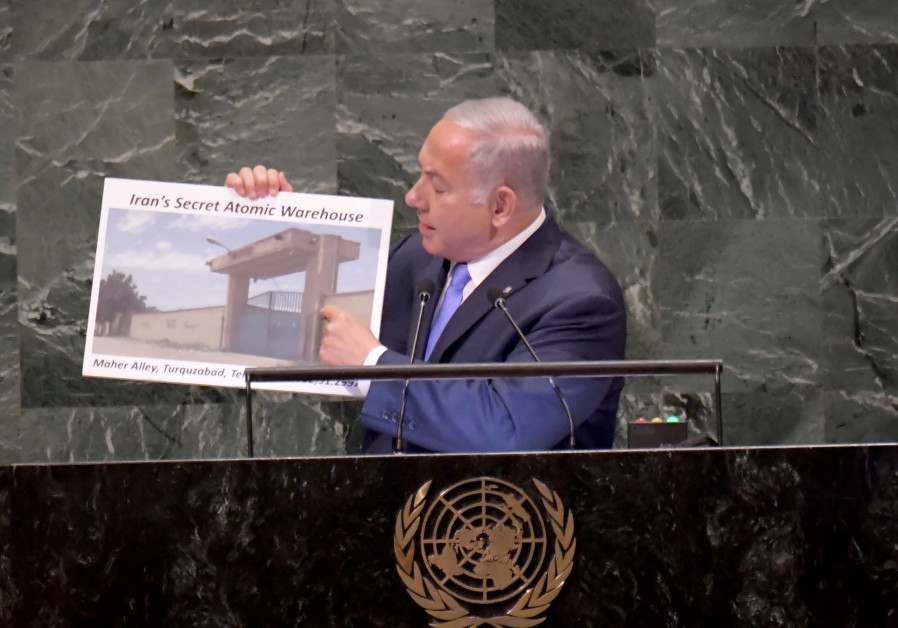 Prime Minister Benjamin Netanyahu delivering a speech at the UNGA in New York on September 27th.