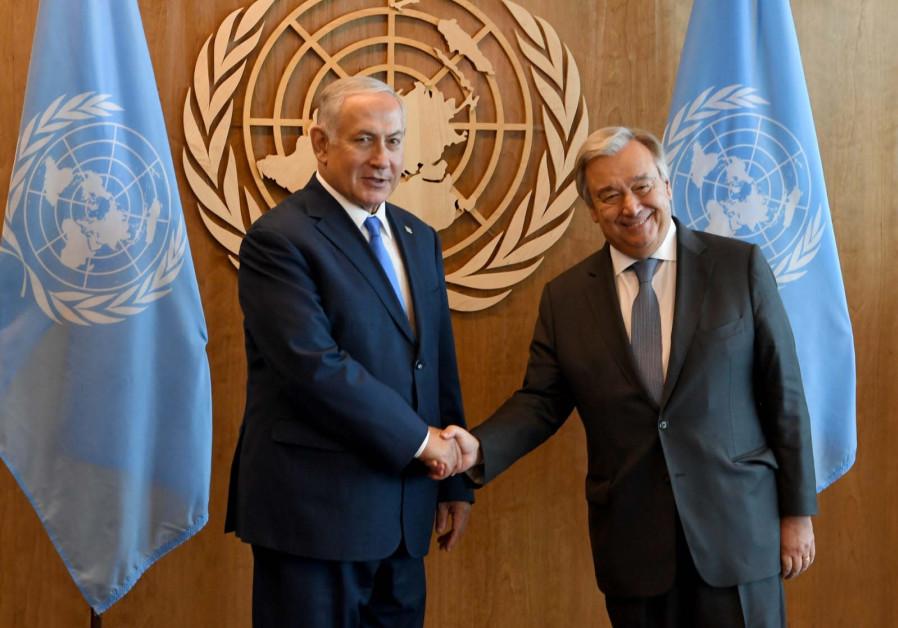 Prime Minister Benjamin Netanyahu meets with UN Secretary General Antonio Guterres