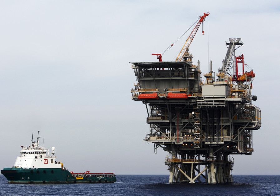 An Israeli gas platform is seen in the Mediterranean sea, some 15 miles west of Ashdod.