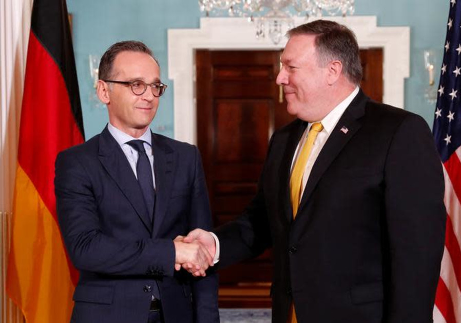U.S. Secretary of State Mike Pompeo meets German Foreign Minister Heiko Maas (L)