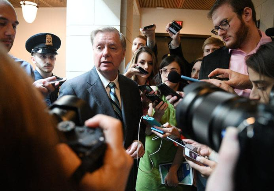 US Senator Lindsey Graham (R-SC) speaks to reporters