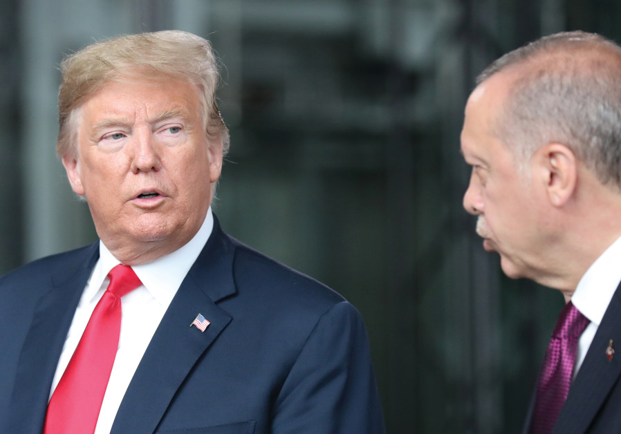 U.S. PRESIDENT Donald Trump speaks with Turkish President Recep Tayyip Erdogan in July 2018