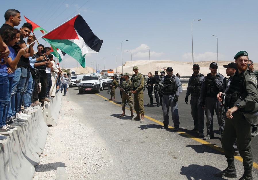 PALESTINIANS PROTESTING at Khan Al-Ahmar