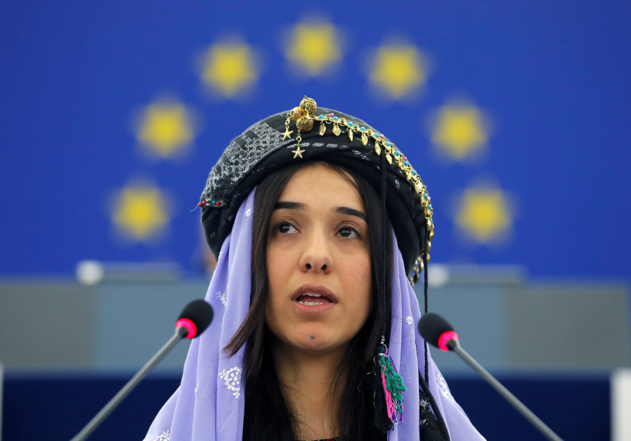 Nadia Murad Basee Taha adresses the European Parliament during an award ceremony for the 2016 Sakhar