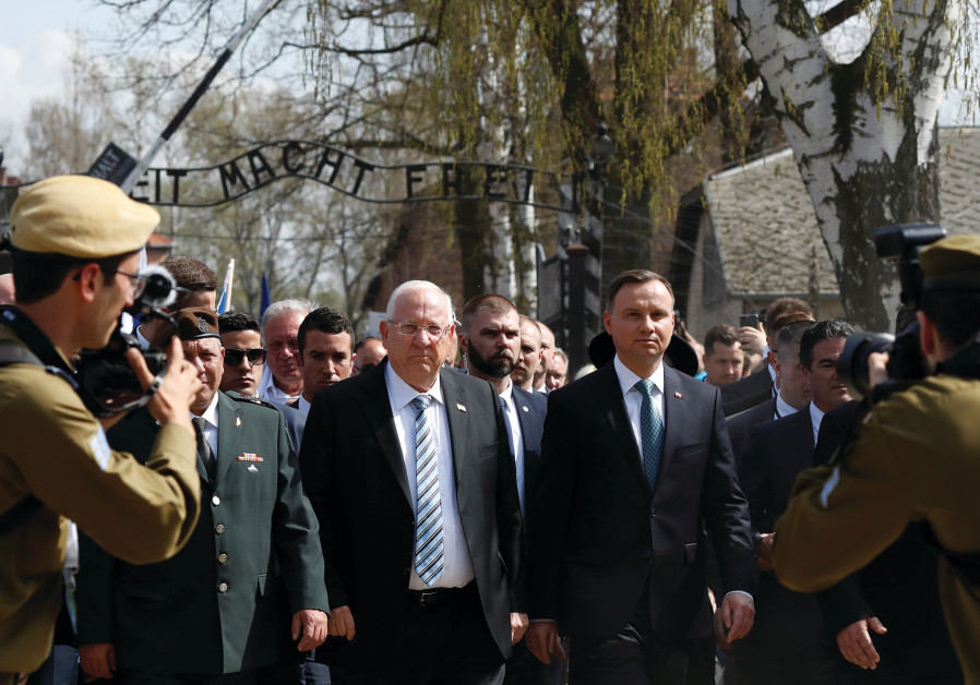 PRESIDENT REUVEN Rivlin and Polish President Andrzej Duda at Auschwitz in April.