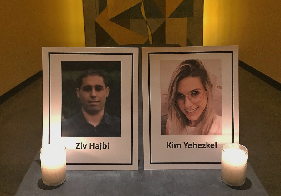 UN has not yet condemned the attack. Pictures commemorating terror attack victims Ziv Hajbi and Kim