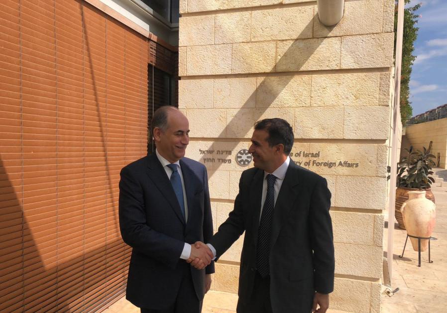 Jordan's ambassador to Israel Ghassan Majali [L] with Deputy Director General for Middle East Amb. H