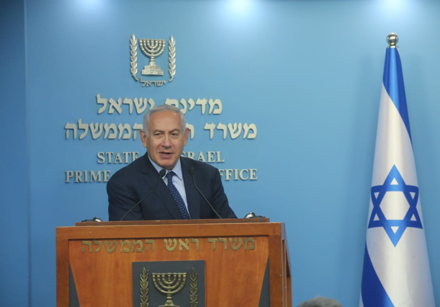 Prime Minister Benjamin Netanyahu speaking to reporters, October 9, 2018