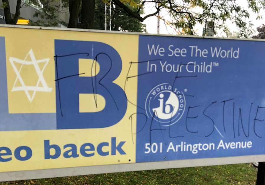 Promotional sign for Leo Baeck Day School in Toronto defaced with pro-Palestinian graffiti