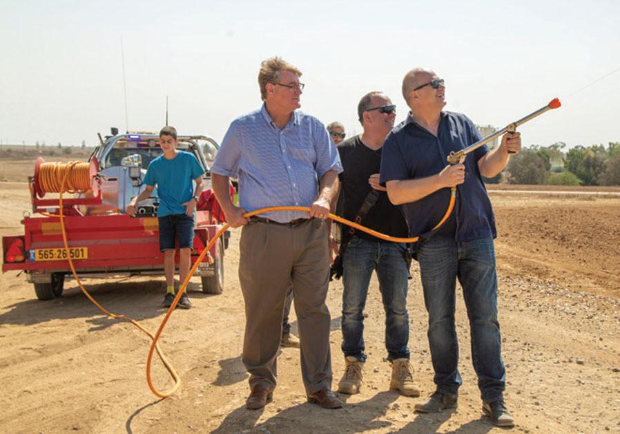 At an IDF observation point near Kissufim, ICEJ director Joergen Buehler and spokesman David Parson