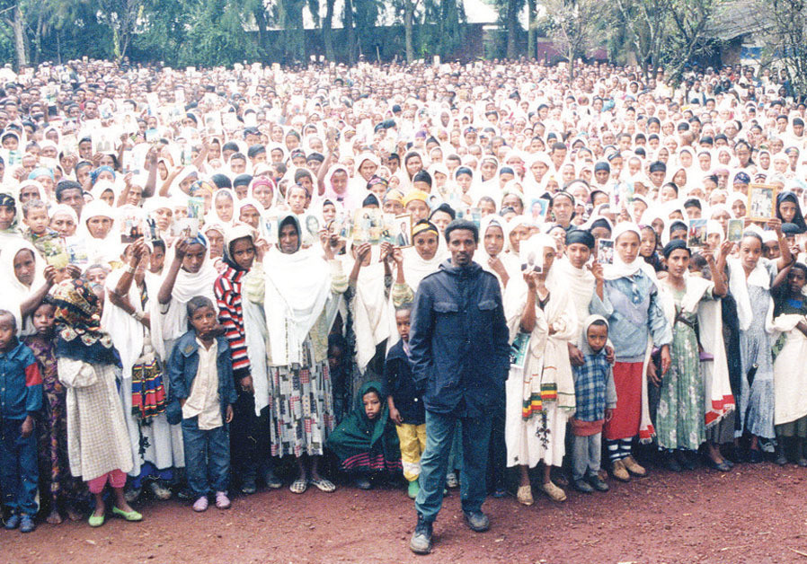 The author (front right) with 8,000 Falash Mura in 1998 ignored at the time by the State of Israel;