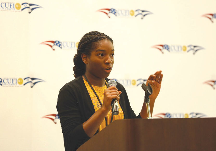 Destiny Albritton speaks at a CUFI on Campus event