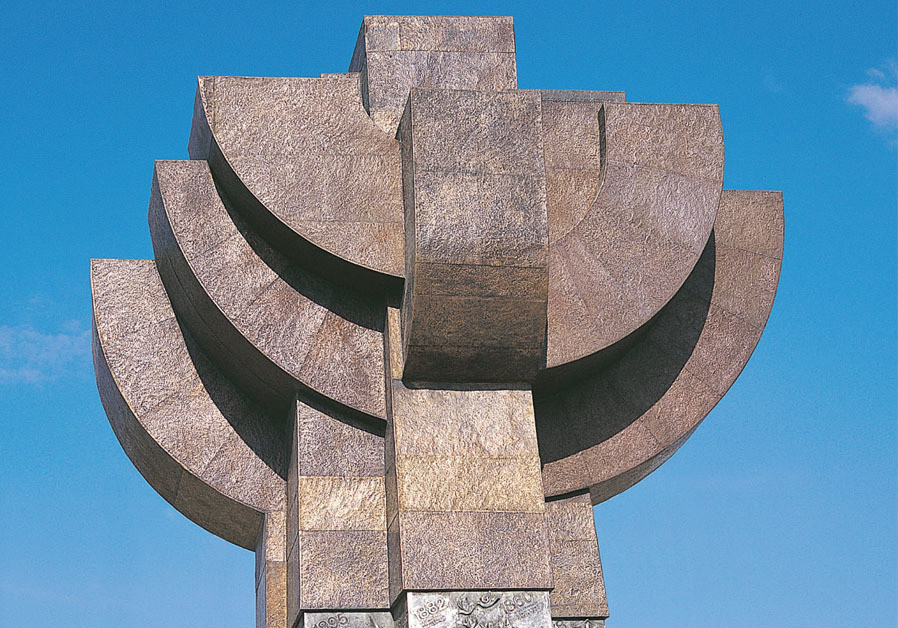 The 9-meter 'Rebirth' sculpture in Rishon Lezion (1988) is a steel construction plated with textured