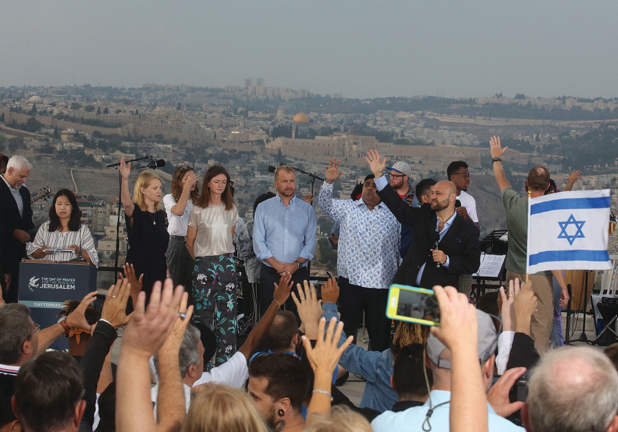 Jews and Christians from over 30 countries gather at the Haas Promenade in Jerusalem at an event org
