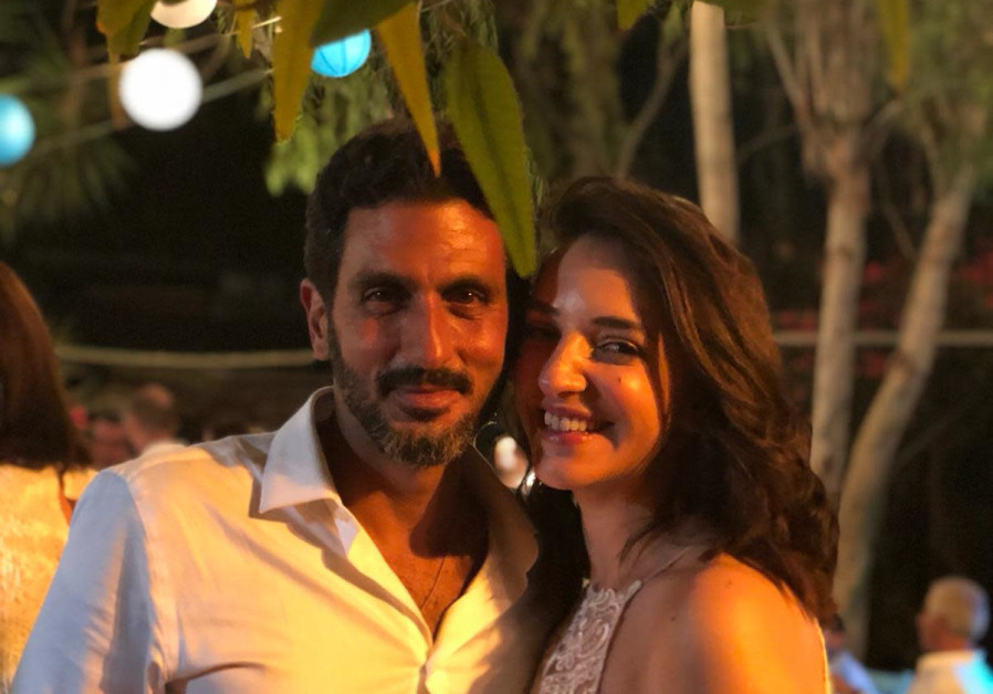 Actor Tzachi Halevy and TV anchor Lucy Aharish at their wedding, October 10, 2018