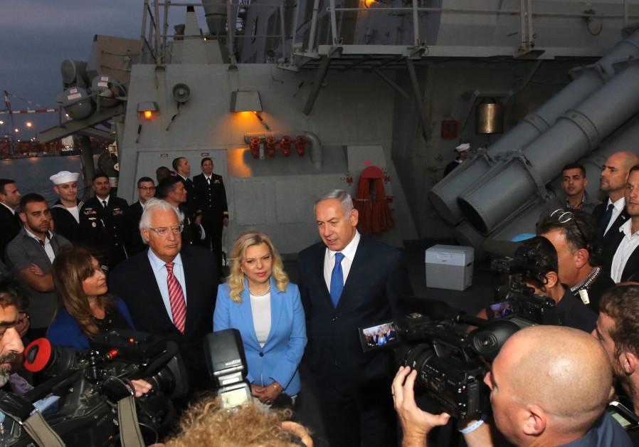 US Ambassador David Friedman, Sara and Prime Minister Benjamin Netanyahu at a press conference on a