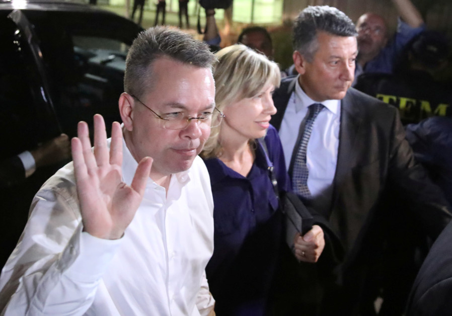 US pastor Andrew Brunson and his wife Norrine arrive at the airport in Izmir, Turkey October  2018