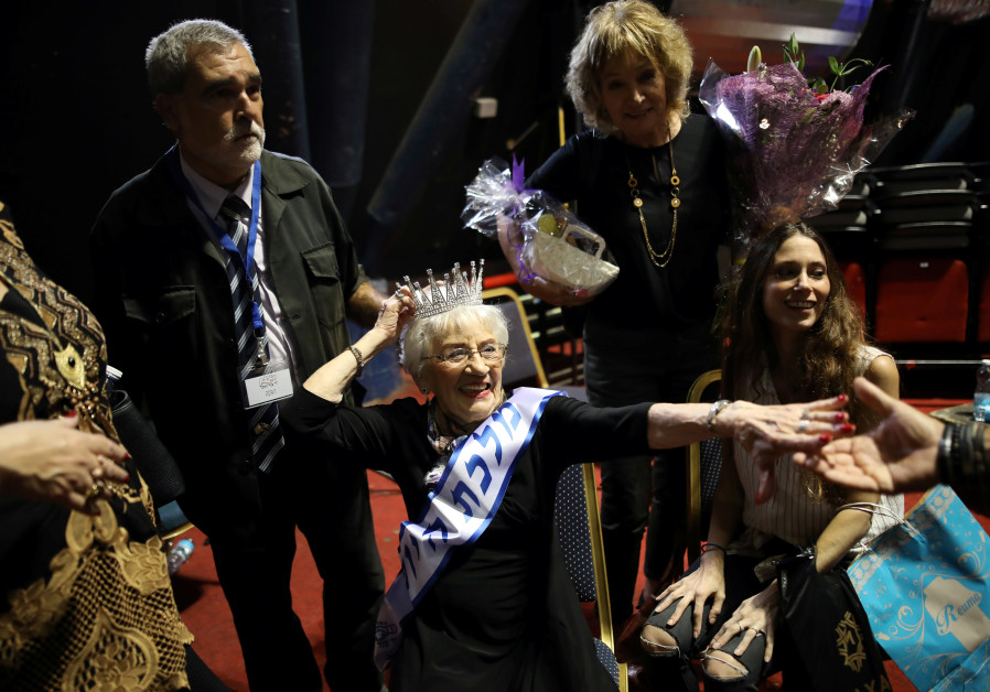 Holocaust survivor Tova Ringer, 93 year old, reacts after winning the annual Holocaust survivors' be
