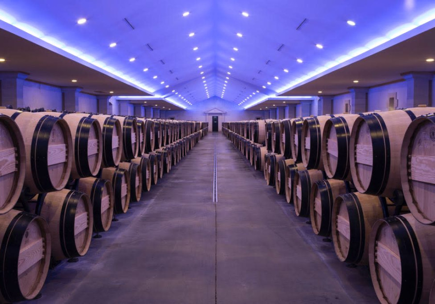 Chateau Lascombes –  The barrel cellar at Chateau Lascombes, with blue lighting.