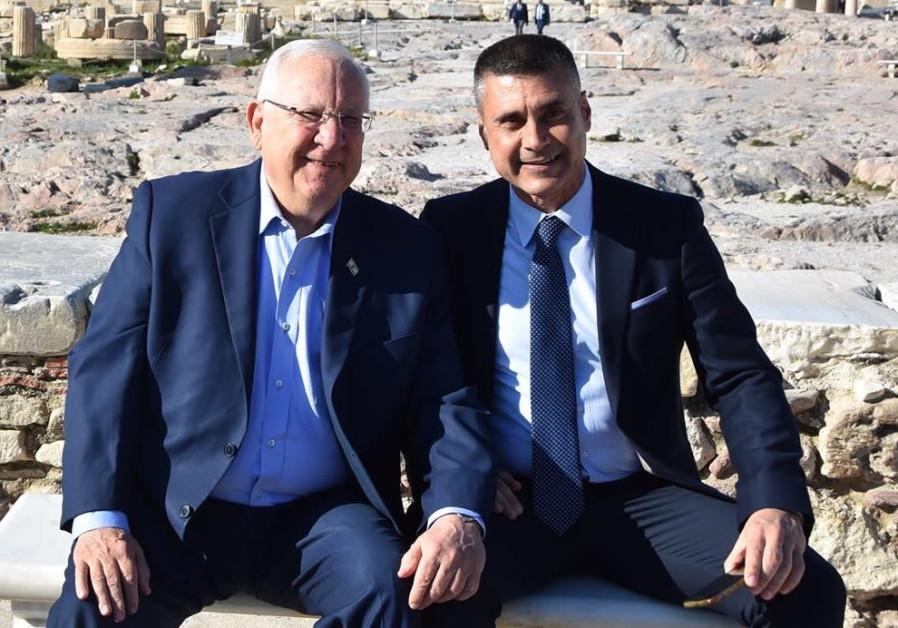 PRESIDENT REUVEN RIVLIN with David Saranga, the ambassador-designate to Romania