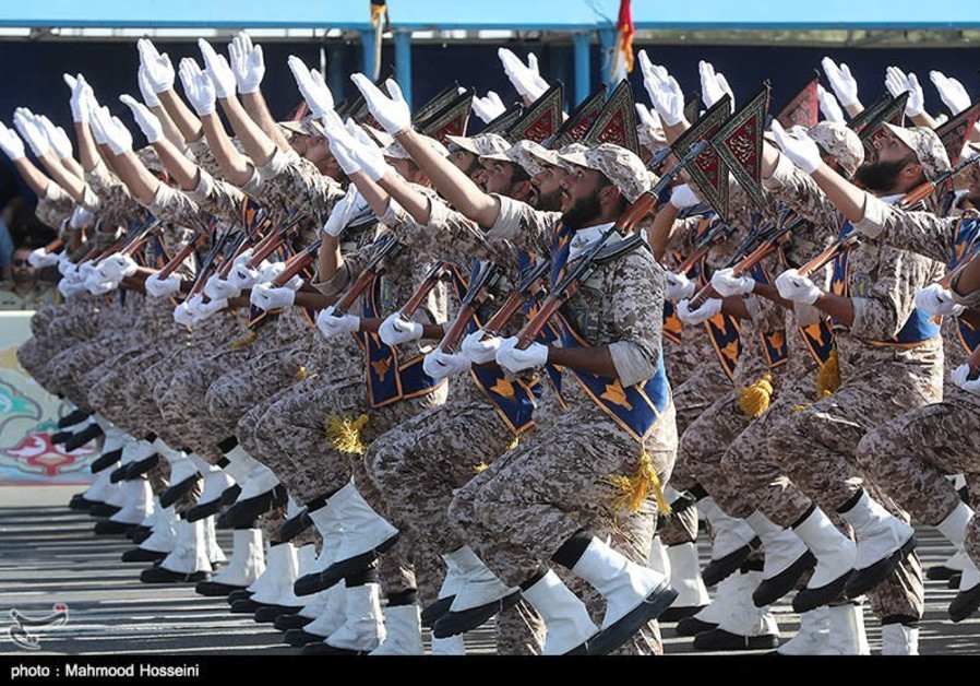 Iranian armed forces members march during the annual military parade in Tehran