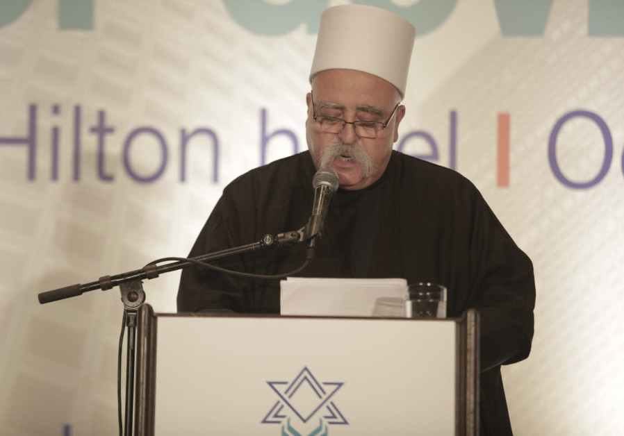 Sheikh Mowafaq Tarif speaking at the meeting of the Board of Governors of the Jewish Agency on Wedne