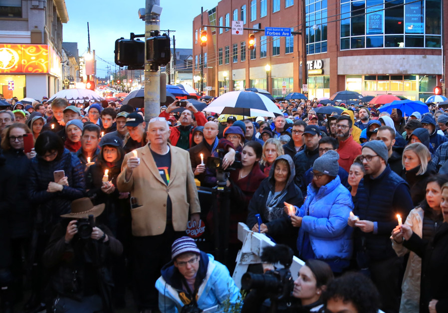 People gathered to mourn the loss of life as they hold a vigil for the victims of Pittsburgh synagog