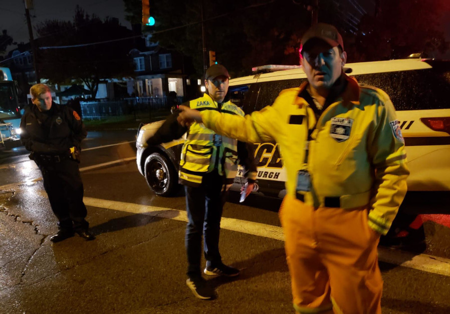 ZAKA Search and Rescue USA volunteers at the scene of the shooting attack, October 28, 2018