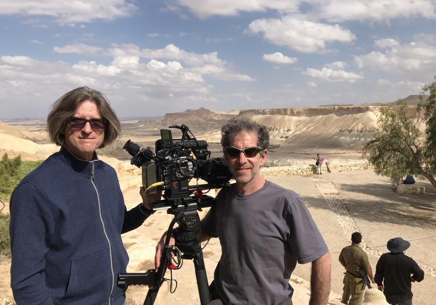 Richard Trank and cinematographer Jeffrey Victor filming at Sde Boker