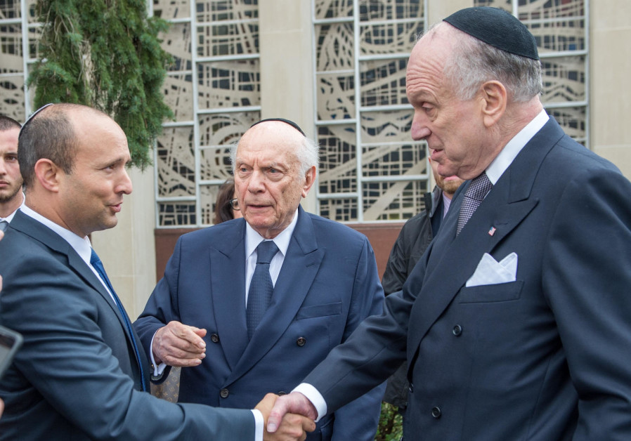 Diaspora Affairs Minister Naftali Bennett greets World Jewish Congress President Ronald Lauder