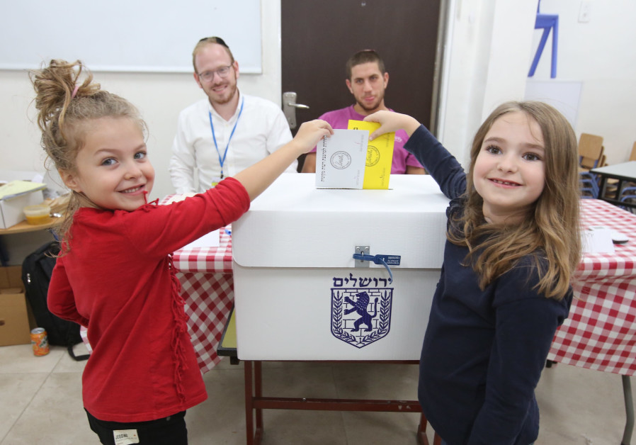 """childen ""vote"" in Jerusalem's Municipal Elections, October 30, 2018"