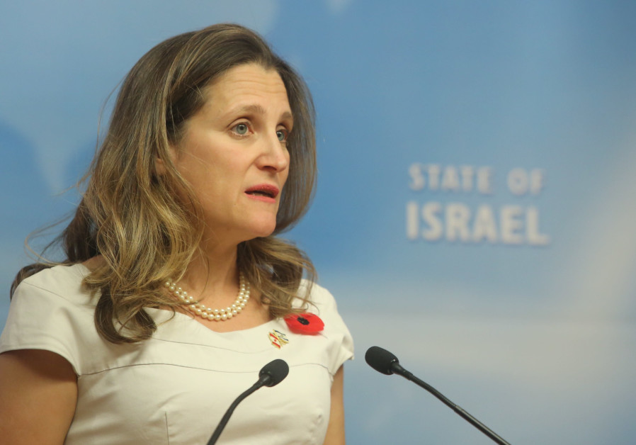 Canada Foriegn Minister Chrystia Freeland visits Israel