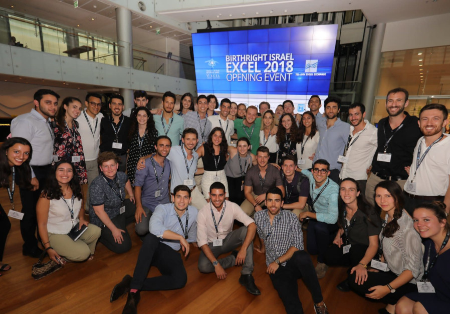 Participants at this Birthright Excel 2018 opening event at the Tel Aviv Stock Exchange