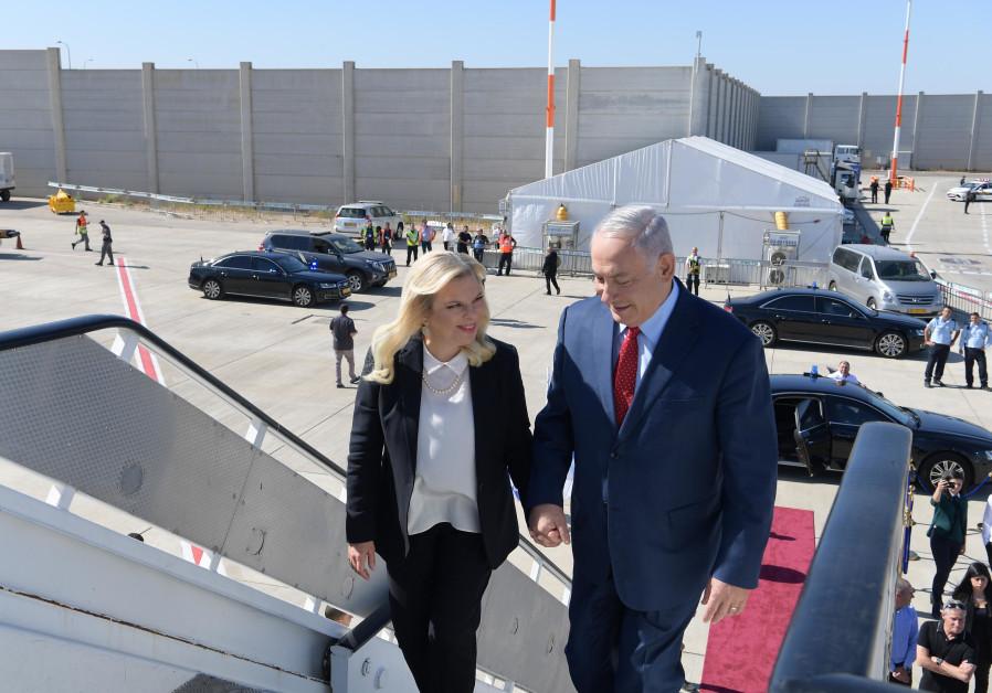 Prime Minister Benjamin Netanyahu and his wife Sarah take off from Lorna Airport, Bulgaria